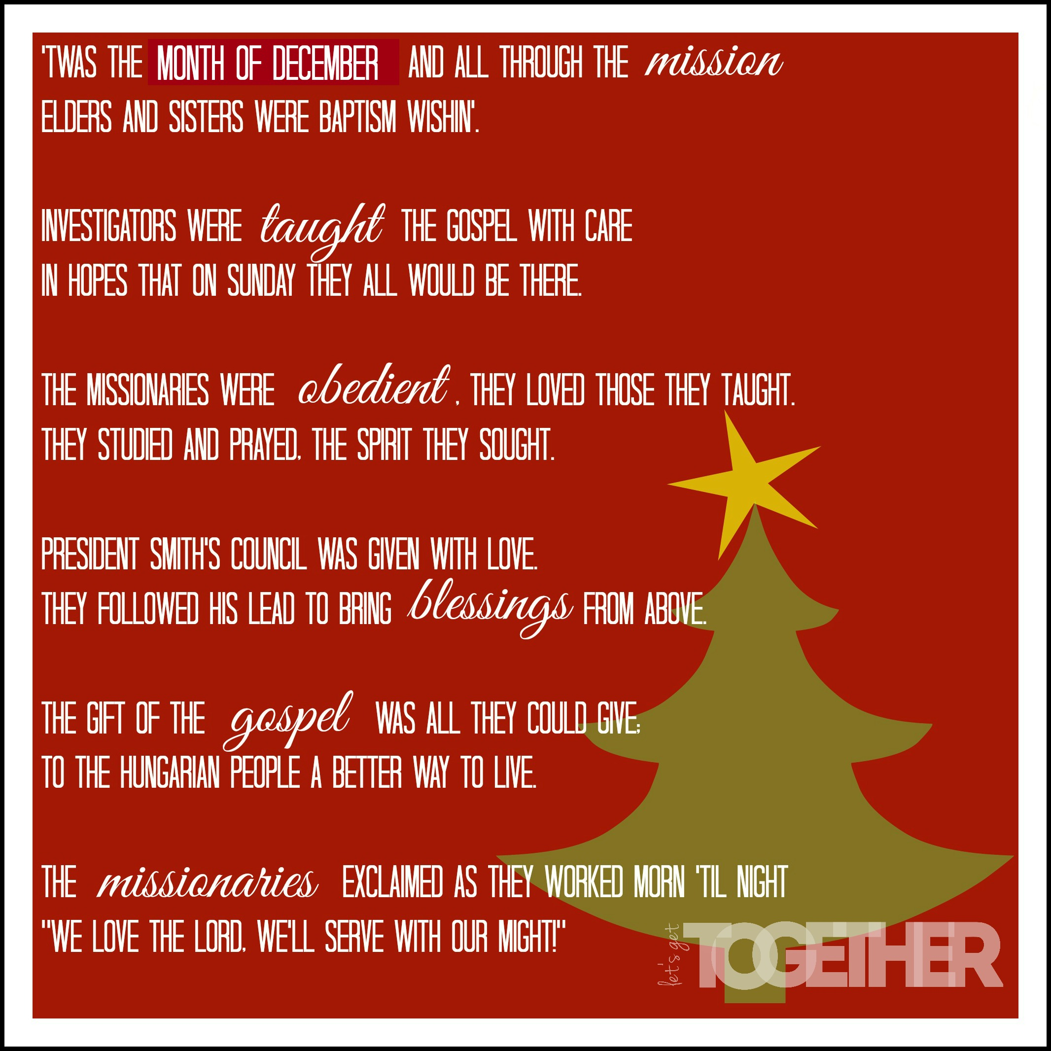 Christmas I Love You Poems Missionary Poem