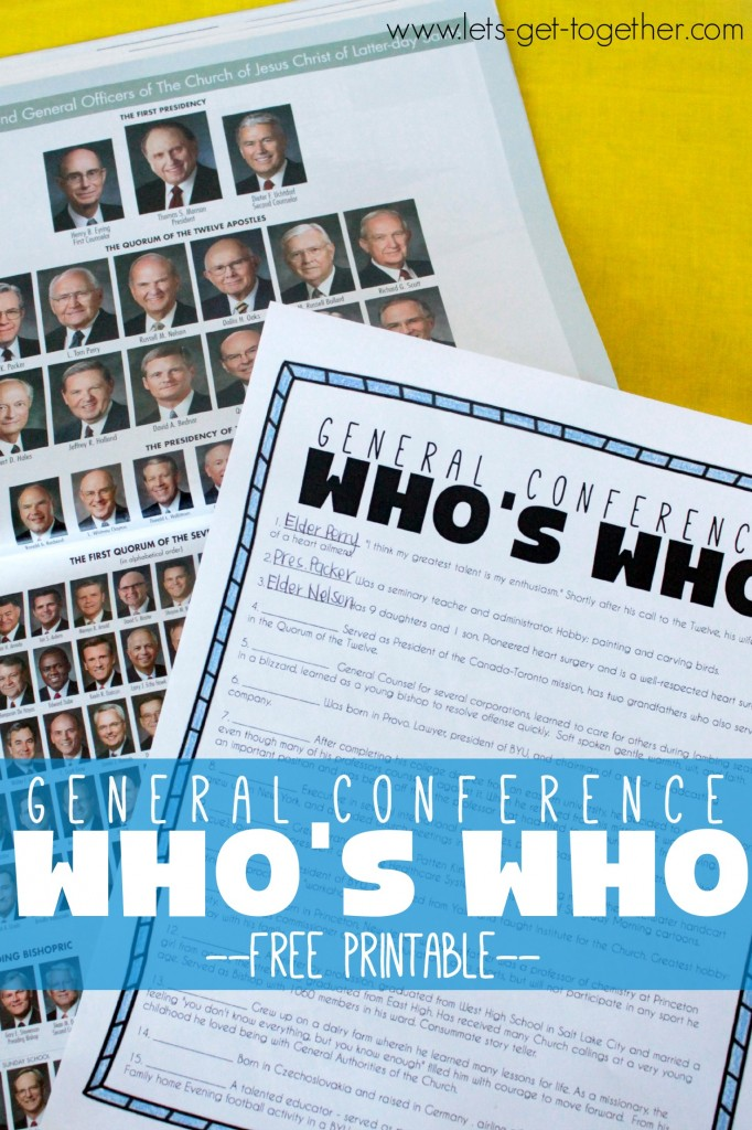 General Conference Who's Who Free Printable from Let's Get Together
