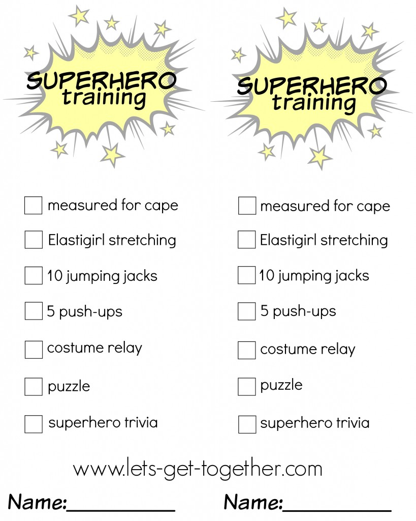 Superhero Training Checklist from Let's Get Together