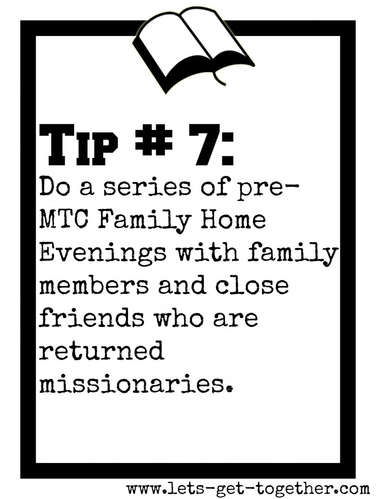 Tip #7: Pre-MTC Family Home Evenings