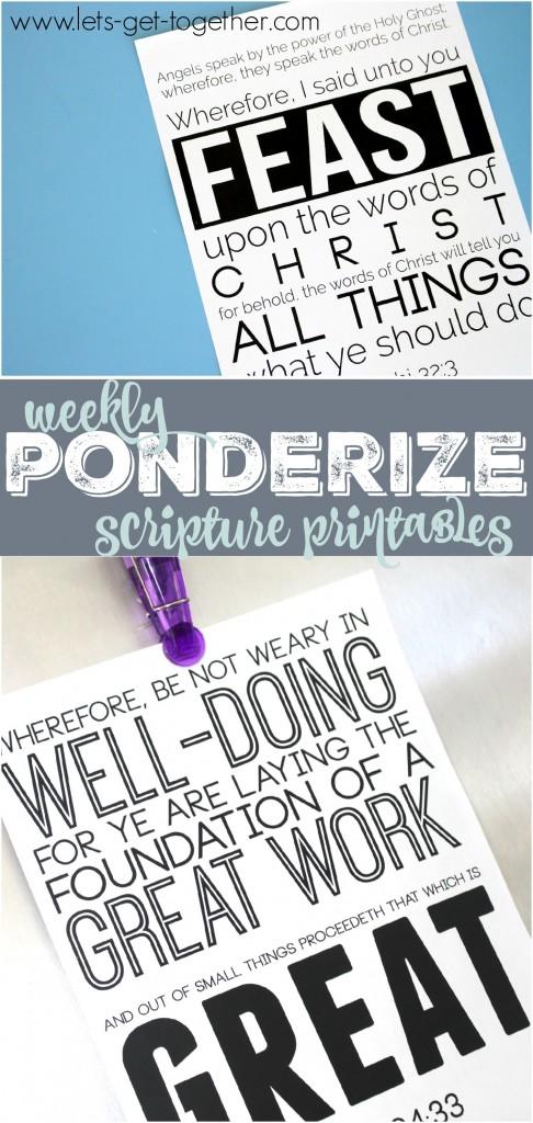 Weekly Ponderize Scripture Printables